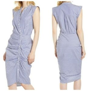 Chelsea28 White & Blue Striped Ruched Shirt Dress
